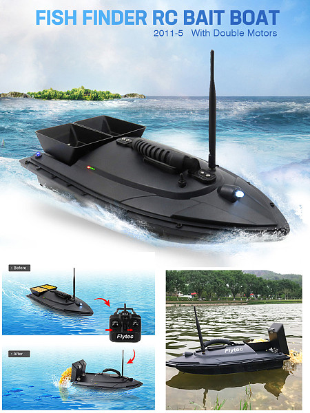 Flytec 2011-5 Generation 50cm Fishing Bait RC Boat 500M Remote Fish Finder 5.4km/h Double Motor Toys