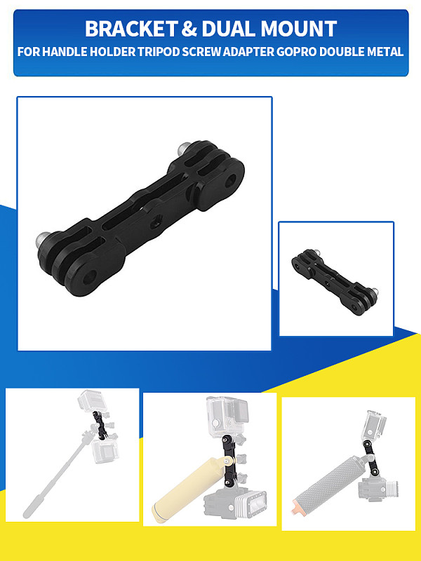 Plastic Dual Mounting Adapter for Gopro Hero 7 6 5 4 Yi Action Sports Camera Double Vertical Bracket Tripod Handle Stand Holder