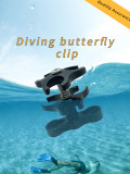 XT-XINTE Diving Three Hole Butterfly Clip Action Camera Bracket Photography Accessories with Opening Hole Design