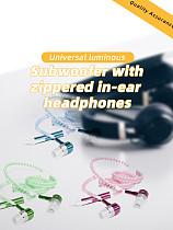 Light Luminous Metal Zipper Earphone Glow in The Dark Headphones Headset Creatively New Fashion Zipping Headphones Earhpones