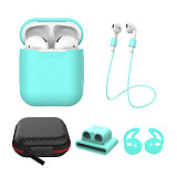 5 in 1 Accessories for AirPods Protective Box Cover & Silicone Charging Pouch Case & Anti Lost Strap & Ear Cover Hooks & Holder