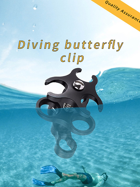 XT-XINTE Diving Three Hole Butterfly Clip Diving Photography Accessories Lamp Arm Extension Rod Connection with Opening Hole Design for Ball Head Sports Action Camera Bracket