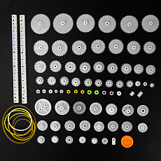 DIY Toy Smart Electronics 75PCS/lot Plastic Gear,Rack,Pulley,Belt,Worm Gear,Single-and Double-gear 8-56 Teeth
