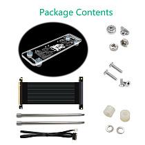 XT-XINTE Video Graphics Card Bracket RGB LED Light Kickstand Base Holder w/ External PCI-E 3.0 16X Extension Riser Cable for DIY ATX Case