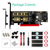 XT-XINTE Upgrad 3 in 1 Msata M.2 NVME SATA SSD to PCI-E 4X PCIE 4.0 3.0 and SATA3 Adapter Converter Riser Card with Cooling Heat Heatsink