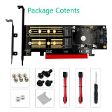 XT-XINTE Upgrad Version 3 in 1 Msata and M.2 NVME SATA SSD to PCI-E 4X PCIE 3.0 4.0 and SATA3 Adapter Converter Riser Card M Key B Key