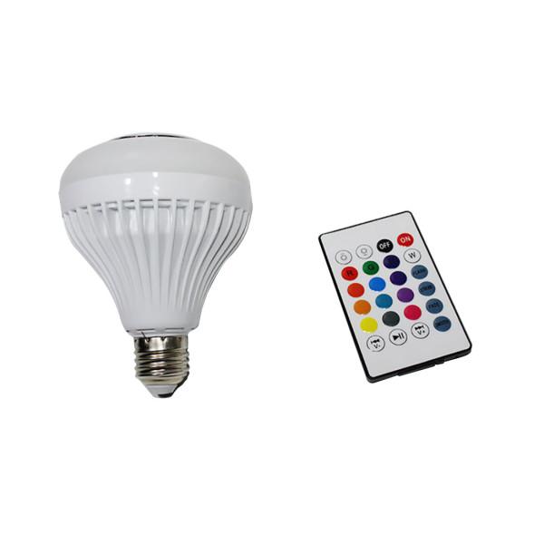 FCLUO Wireless Bluetooth Smart Control Music Audio Speaker LED Light Bulb 12W E27 Speaker Music RGB Color Bulb Light Lamp White