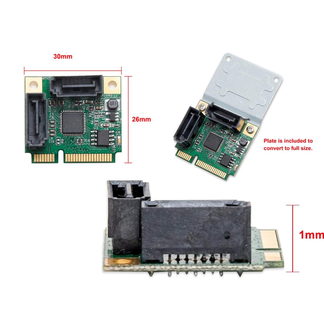 2 Ports Mini PCI-E PCI Express to SATA 3.0 Converter Hard Drive Extension Card