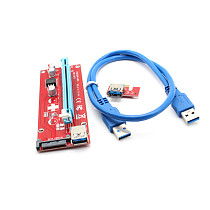 XT-XINTE PCIE Express PCI-E Graphic Extender Riser Card 1X to 16X Red Board Adapter with USB 3.0 Cable for Bitcoin BTC Mining ETH LTC