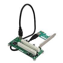 XT-XINTE Desktop PCI Express PCI-e to Dual PCI Adapter Card PCIE PCI Slot Expansion Riser Card USB 3.0 Add on Cards Converter