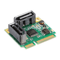XT-XINTE Add On Cards Mini PCI-E PCI Express to 2 Ports SATA 3.0 Converter Hard Drive Extension SATA3 Controller Card HUB Multiplier