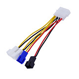 XT-XINTE 1PC 4 Pin Molex to 3 Pin Fan Power Cable Adapter Connector 12V*2 7v 5v Computer Cooling Fan Cables for CPU PC Case 12.5cm
