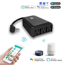 Mingchuan 2.4GHz Outdoor Smart Outlet with 3 Sockets WiFi Smart Plug IP44 Waterproof Wireless Remote Control Timer by Smartphone APP Compatible with Alexa Google Home