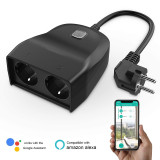 Mingchuan Intelligent 2.4 GHz Outdoor Plug with 2 Smart WiFi Sockets Plug IP44 Waterproof Wireless Remote Control by Smartphone APP Compatible with Alexa Google Home