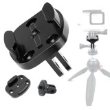 BGNING CNC Aluminum Flat Seat (with holes) with 1/4 Adapter for Gopro / Xiaoyi / GitUp Sports Camera