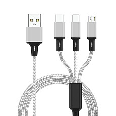 FCLUO ​3 in 1 USB Cable for Mobile Phone Micro USB Type C Charger Cable for Smartphone Charging Cable Micro USB Charger Cord