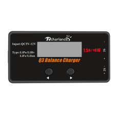 RCHARLANCE Q3 Balance Charger Mini QC Input 2-3S Simple Stable Charger Display 18W for RC Drone Aircraft Can Charge 4 Batteries