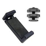 BGNING 1/4  Flash Cold Shoe Screw Adapter Tripod Mount Phone Clip Holder For DSLR Camera