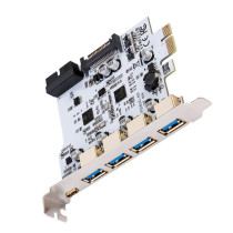 ITHOO 19PIN Dual Core NEC Three Generation PCI-E to USB3.0 Type-C Expansion Card 4 Port USB3.0 Type-C 19PIN Expansion Card Forward and Reverse Insertion for Windows 7/8/8.1/10/Linux
