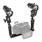 BGNING Aluminum Alloy CNC Diving Photography Bracket with Butterfly Ball Clamp+ 2pcs Flashlight + Fixed Clip for SLR Sports Camera Photography