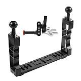 BGNING Aluminum alloy CNC Diving Lighting Arm Bracket Stabilizer Rig Adjustable Shutter Extension Rod for Sports Camera Housing Diving Case