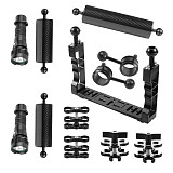 BGNING CNC Diving Waterproof Lighting Arm Bracket Stabilizer Rig Butterfly Clip Clamp Light Arm Clamp Ball Head Float Buoyancy Aquatic Arm Dual Ball for Gopro Camera Smartphone