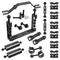 BGNING Lighting Arm Bracket Stabilizer Rig Extended Ball Head 1/4 Adjustable Screw CNC Aluminum Alloy Diving Photography for Gopro/Osmo Action/Xiaoyi/Tencent EKEN