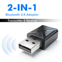 XT-XINTE​ 5.0 Wireless Bluetooth Audio Receiver Transmitter USB 2-in-1 Adapter for Computer Laptop Home Stereo System Headphone Smartphone Mp3 Player CD Player Etc