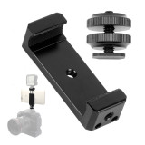BGNING CNC Aluminum Alloy Mobile Phone Tripod Mount Clip Holder Clamp with 1/4 inch flash shoe hot shoe Adapter for iPhone HUAWEI Vlog Fill Video Recording for SLR Camera Photograply