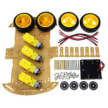 Feichao 4WD Robot Smart Car Chassis Kits with Speed Encoder and Battery Box DIY Education Robot Smart Car Kit
