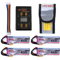 4pcs GNB 7.6V 450Mah 80C 2S HV 4.35V Lipo Battery with P4 1-6S XT30 Parallel Charging Board Fireproof Safe Guard for DIY FPV Racing Drone Cinewhoop
