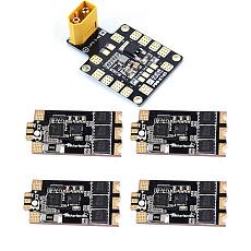 Rcharlance Razor32 V2 35A BLheli_32 3-6S DShot1200 ESC w / RGB LED and Current Sensor with XT60 dual BEC Power Distribution Board