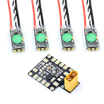 HAKRC BLHeli_32 35A 2-5 S ESC DShot1200 Multishot Speed Controller LED Integrated with XT60 Dual BEC Power Distribution Boar
