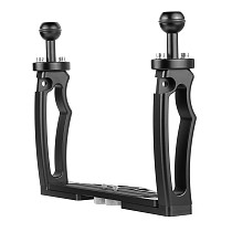 BGNING Aluminum Alloy Dual Hand-Hold Photography Diving Bracket Camera Housing Handle Tray Adjustable Double Hand Grip Bracket for DSLR Camera Action Camera Underwater Accessery