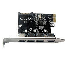 XT-XINTE ​4 Port USB 3.0 PCI-e Expansion Card PCI Express PCIe USB 3.0 Hub Adapter 5Gbps Riser Controller Extender with Large 4Pin / SATA Power Interface