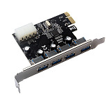 XT-XINTE 4 Port USB 3.0 PCI-e Expansion Card PCI Express PCIe USB 3.0 Hub Adapter 5Gbps Riser Controller Extender with Large 4Pin / SATA Power Interface