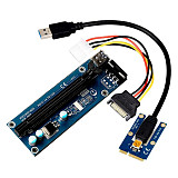 XT-XINTE USB Mini PCI-E to PCIe PCI Express 1x to 16x Extender Riser Raiser Card Adapter SATA 6Pin 4Pin Power Cable for BTC Mining Miner