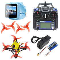 QWinOut T100 DIY Indoor FPV Racing Drone Kit 2.5 Inch 100mm Wheelbase Full Set with FPV Watch Flysky Remote Controller