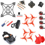 QWinOut T100 DIY RC Drone Kit 2.5 Inch 100mm Indoor FPV Racing Drone With Crazybee F4 PRO V3.0 FC Frsky Receiver LST-009 FPV Goggles