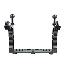 BGNING Aluminum Alloy Dual-handed Diving Photography Extension Bracket Camera Bracket with Gopro Seat