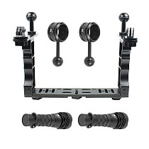 BGNING Aluminum Alloy Dual-handed Diving Photography Extension Bracket Stabilizer Camera Bracket with Flashlight/ Flashlight Clip/Butterfly/Buoyancy Arm Kits