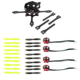 JMT Mini Indoor FPV Racer Frame 65mm w/ 2-4S Brushless CW CCW Motors 2540 2.5inch Propellers Kit Toothpick RC Racing Drone Parts