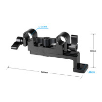 BGNING Camera 15mm Dual Rod Clamp w/ Vertical Connecting Plate for DSLR Battery Plates