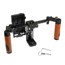BGNING 5  7  LCD DSLR Camera Monitors Director's Cage Kit+Wooden Handle+V-Lock Battery Dual Plate
