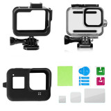 BGNing 60m Waterproof Protective Case Soft Silicone Cover Plastic Cage Kit with HD Screen Protector Set for Gorpo Hero 8