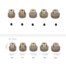 JMT 5Pcs 32DP 3.175mm 12T 13T-17T 18T 19T 20T 21T 22T 23T 24T 25T Metal Pinion Motor Gear Set for 1/10 RC Car Truck