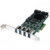 XT-XINTE USB 3.0 PCI-E Express PC Add on Card External 4 Ports USB3.0 & Internal 2x 19 Pin Slots 4 Channels 8x USB 3.0 Expansion Adapter