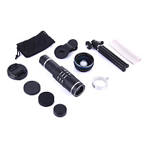 FCLUO 4K HD 18X Optical Mobile Phone Camera Telescope Lens with 2 in 1 HD 0.45X Super Wide Angle Lens & Macro Lens for Smartphones