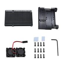 XT-XINTE Dual Fan Heatsink Cooler with Aluminum Metal Case for Raspberry Pi 2b / 3B / 3B Plus Model Housing Ultra-thin Fan