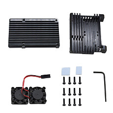 XT-XINTE Dual Fan Heatsink Cooler with Aluminum Metal Case for Raspberry Pi 2b / 3B / 3B Plus Model Housing Ultra-thin Fan